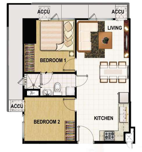 princeton residences 2 bedroom corner unit 47sqm