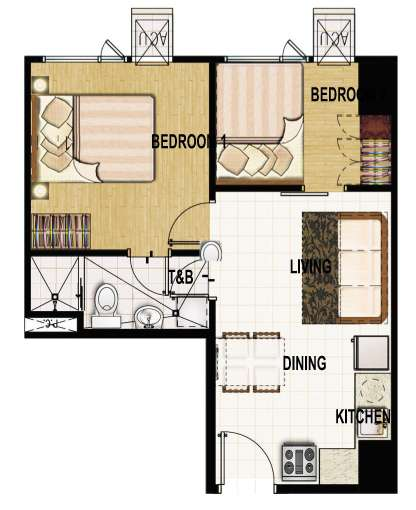 princeton residences 2 bedroom suite unit 39sqm