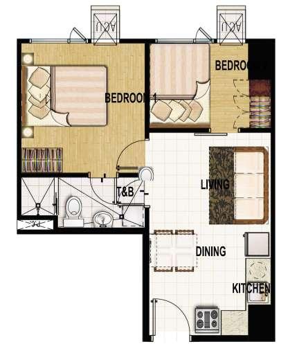 princeton residences 2 bedroom suite unit 39sqm