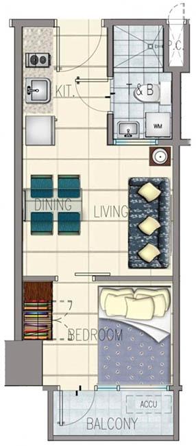 SMDC Sun Residences - 1 Bedroom w Balcony - Floor Plan