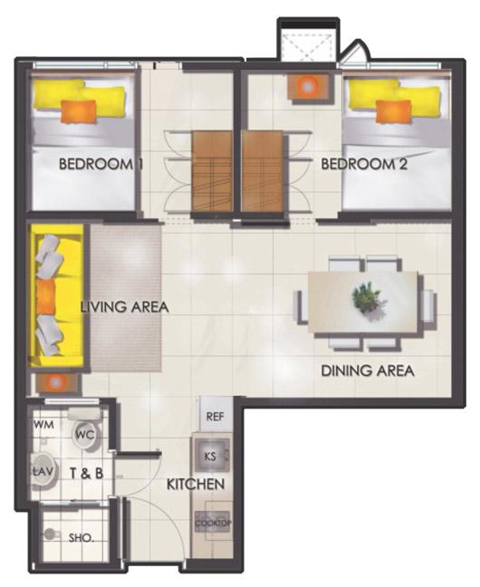 SMDC Sun Residences - 2 Bedroom - Floor Plan