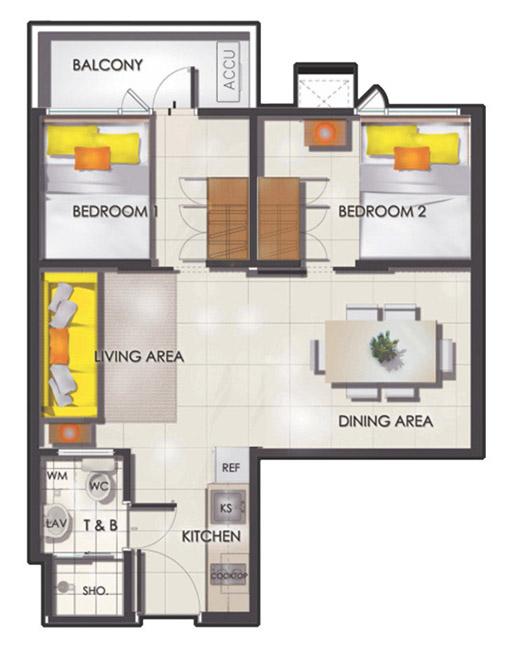 SMDC Sun Residences - 2 Bedroom w Balcony - Floor Plan