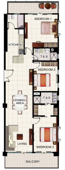 SMDC Wind Residences 3-Bedroom Deluxe Penthouse Unit with Balcony-148sqm
