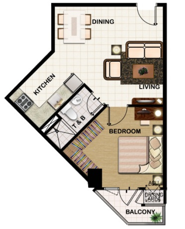 field residences 1BR Deluxe - 44.1 sqm - floorplan