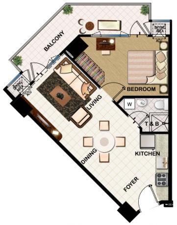 field residences 1BR Deluxe - 54.84 sqm - floorplan