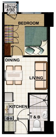 field residences 1BR standard unit - 24.7 sqm - floorplan