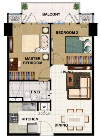 field residences 2BR Middle Unit - 55.64 sqm - floorplan