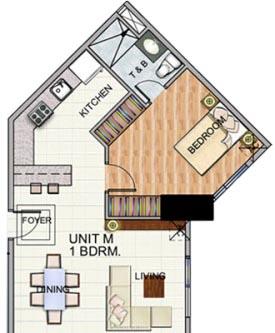 Robinsons The Trion Towers condominium - Bonifacio Global City, 1 Bedroom unit Floorplan (type 1)