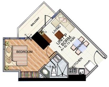 Robinsons The Trion Towers condominium - Bonifacio Global City, 1 Bedroom unit Floorplan (type 2)