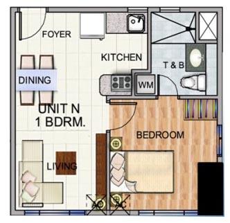 Robinsons The Trion Towers condominium - Bonifacio Global City, 1 Bedroom unit Floorplan (type 3)
