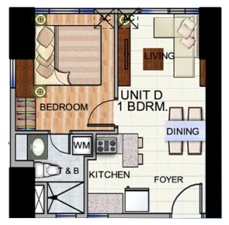 Robinsons The Trion Towers condominium - Bonifacio Global City, 1 Bedroom unit Floorplan (type 4)