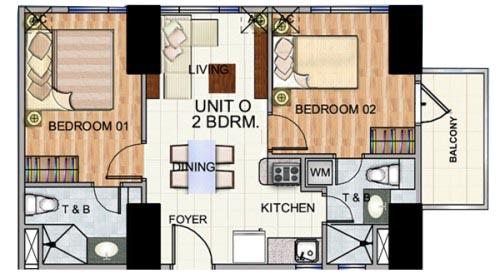 Robinsons The Trion Towers condominium - Bonifacio Global City, 2 Bedroom unit with Balcony Floorplan