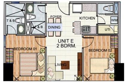Robinsons The Trion Towers condominium - Bonifacio Global City, 2 Bedroom unit (without Balcony) Floorplan