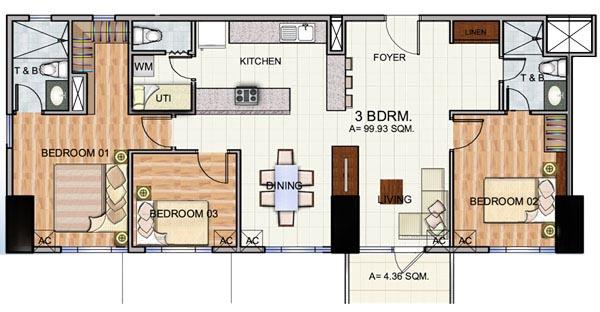 Robinsons The Trion Towers condominium - Bonifacio Global City, 3 Bedroom unit with Balcony Floorplan