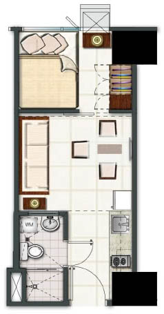 SMDC Light Residences Condominium - 1 Bedroom Unit Floorplan