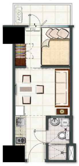 SMDC Light Residences Condominium - 1 Bedroom Unit with Balcony Floorplan