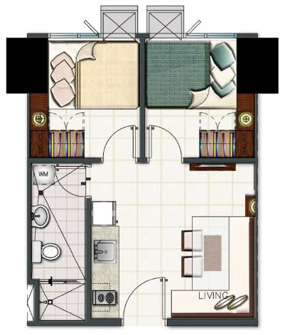 SMDC Light Residences Condominium - 2 Bedroom Unit Floorplan