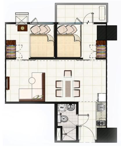 SMDC Light Residences Condominium - 2 Bedroom Unit with Balcony Floorplan