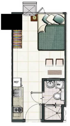 SMDC Light Residences Condominium - Studio Unit Floorplan