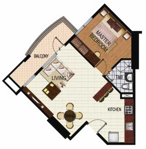 SoleMare Parksuites Floorplan - 1 bedroom corner unit with balcony