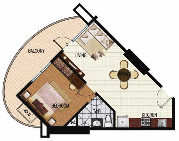 SoleMare Parksuites Floorplan - 1 bedroom corner unit with premiere balcony