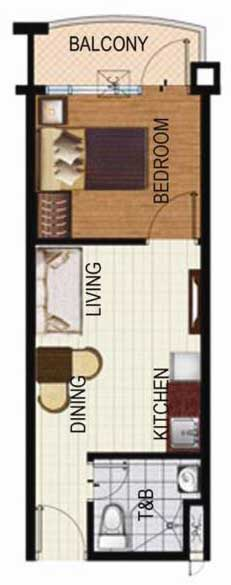 SoleMare Parksuites Floorplan - 1 bedroom unit with balcony