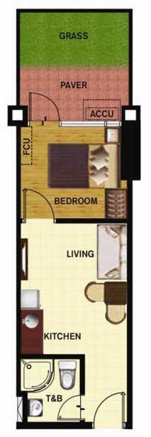 SoleMare Parksuites Floorplan - 1 bedroom unit with garden