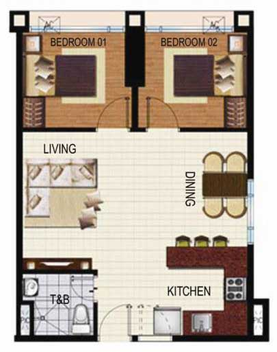 SoleMare Parksuites Floorplan - 2 bedroom combine unit