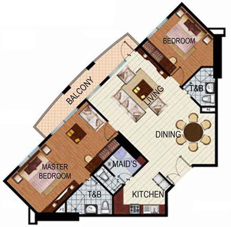 SoleMare Parksuites Floorplan - 2 bedroom w balcony