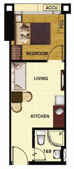 SoleMare Parksuites Floorplan - Standard 1 bedroom unit