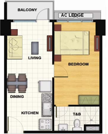 Signa Designer Residences - 1 Bedroom Unit Floorplan