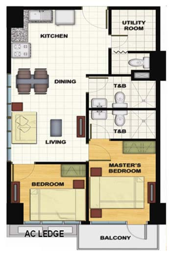 Signa Designer Residences - 2 Bedroom Unit Floorplan