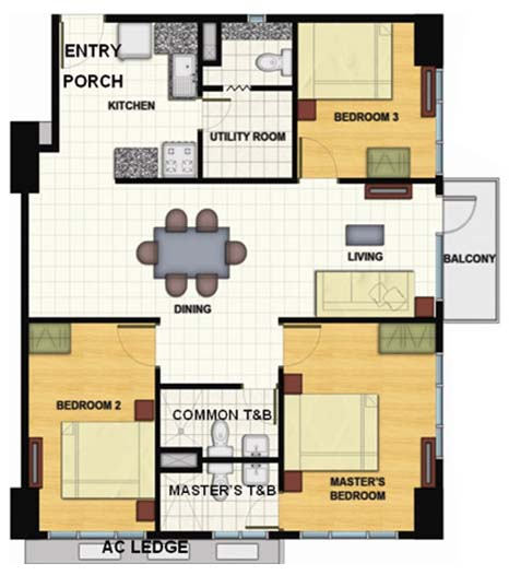 Signa Designer Residences - 3 Bedroom Unit Layout