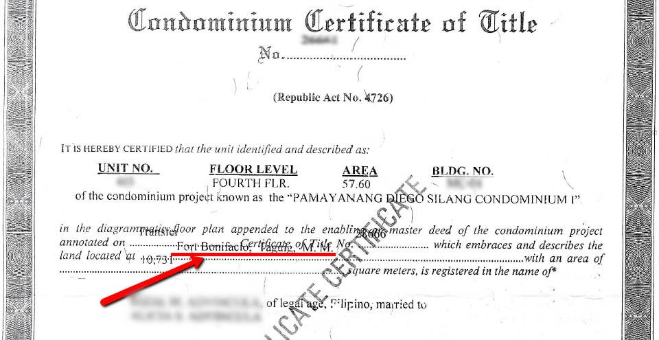 Condominium Certificate of Title