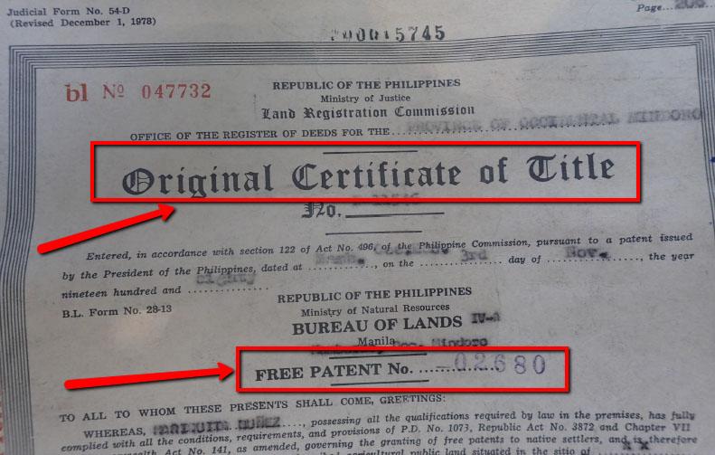 Original Certificate of Tile